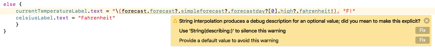 Swift String Interpolation Warning